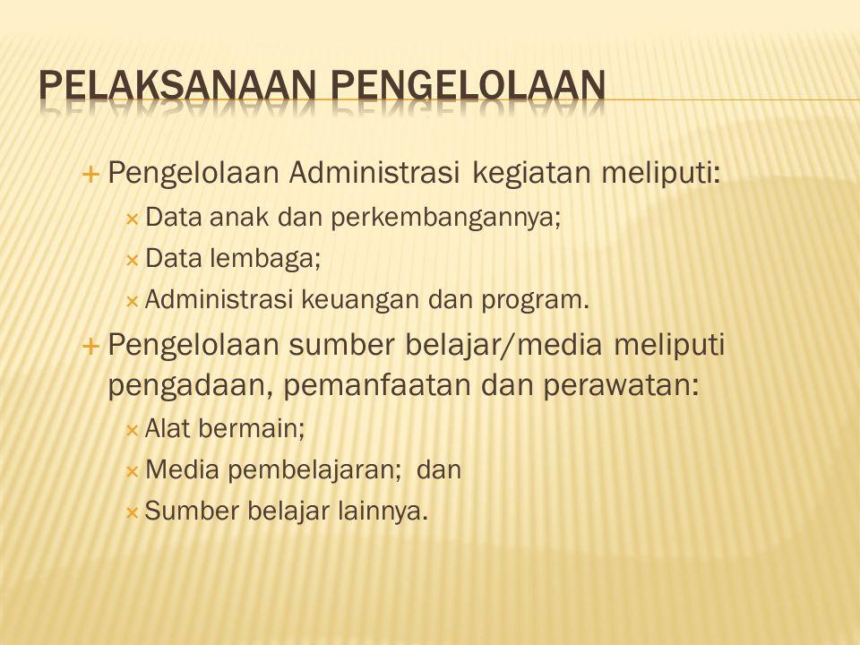  Pengelolaan Administrasi kegiatan meliputi:  Data anak dan perkembangannya;  Data lembaga;  Administrasi keuangan dan program.  Pengelolaan sumb