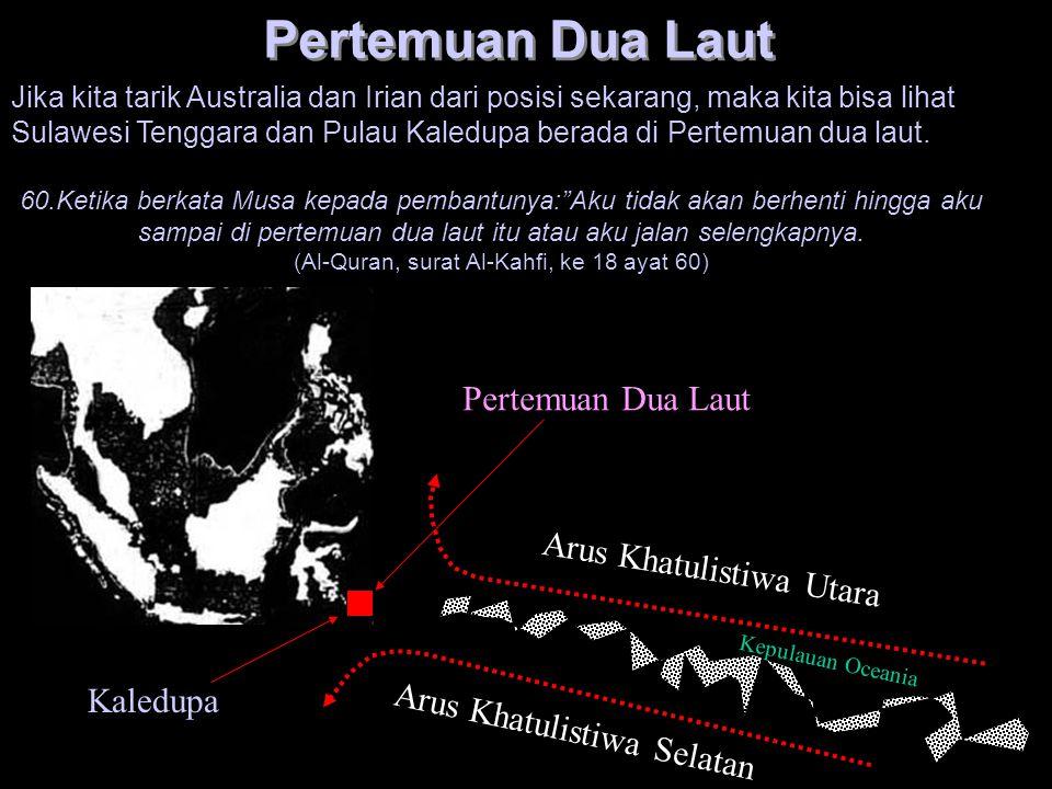 Kaledupa Arus Khatulistiwa Utara Arus Khatulistiwa Selatan Pertemuan Dua Laut Kepulauan Oceania Pertemuan Dua Laut Jika kita tarik Australia dan Irian
