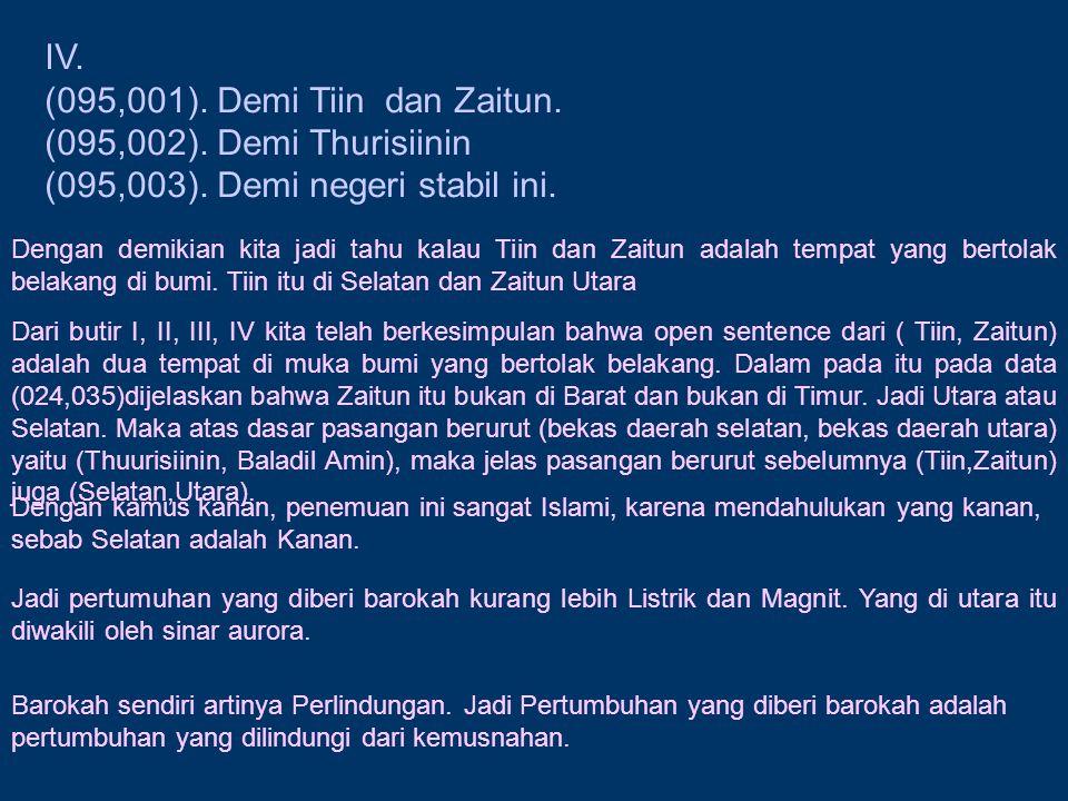 IV. (095,001). Demi Tiin dan Zaitun. (095,002). Demi Thurisiinin (095,003). Demi negeri stabil ini. Dengan demikian kita jadi tahu kalau Tiin dan Zait