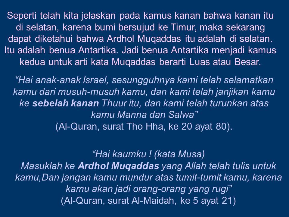 Seperti telah kita jelaskan pada kamus kanan bahwa kanan itu di selatan, karena bumi bersujud ke Timur, maka sekarang dapat diketahui bahwa Ardhol Muq