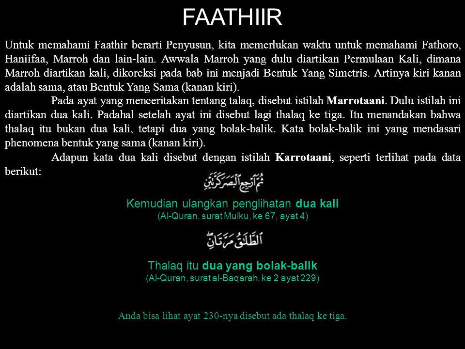 FAATHIIR Untuk memahami Faathir berarti Penyusun, kita memerlukan waktu untuk memahami Fathoro, Haniifaa, Marroh dan lain-lain. Awwala Marroh yang dul