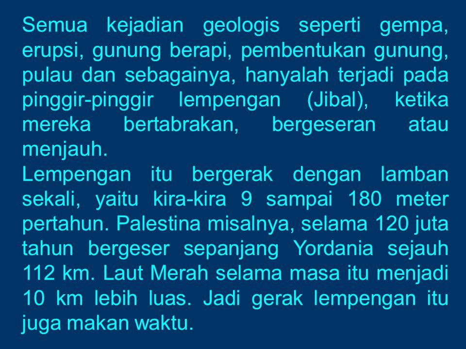 Semua kejadian geologis seperti gempa, erupsi, gunung berapi, pembentukan gunung, pulau dan sebagainya, hanyalah terjadi pada pinggir-pinggir lempenga
