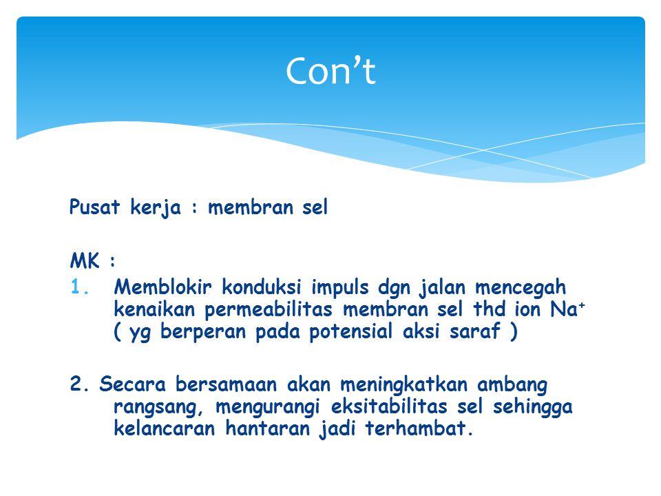 Pusat kerja : membran sel MK : 1.Memblokir konduksi impuls dgn jalan mencegah kenaikan permeabilitas membran sel thd ion Na + ( yg berperan pada poten