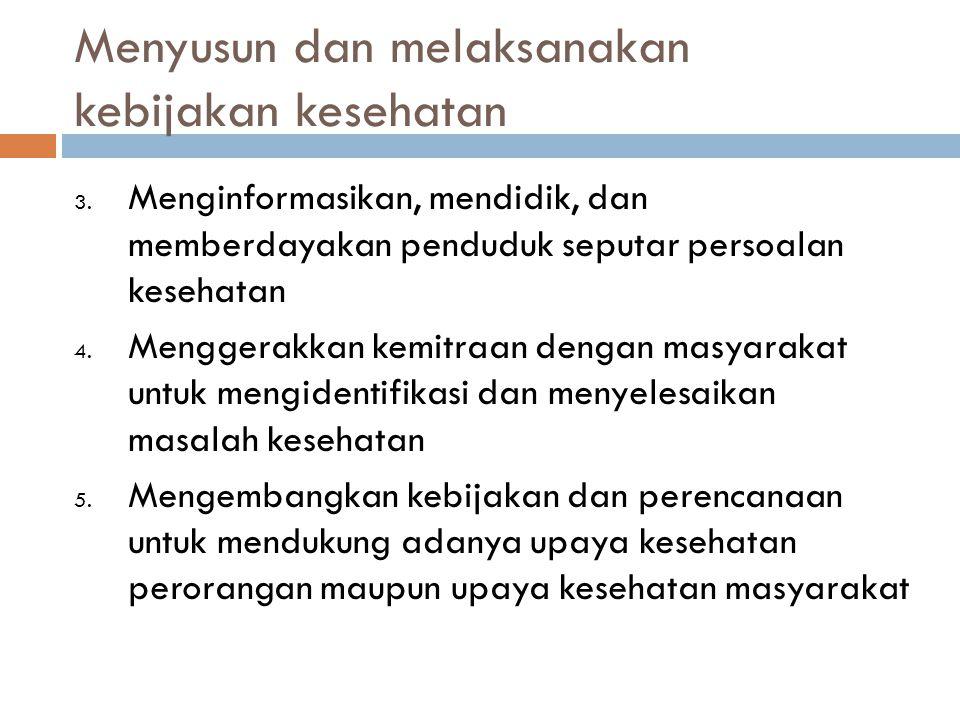 Menyusun dan melaksanakan kebijakan kesehatan 3.