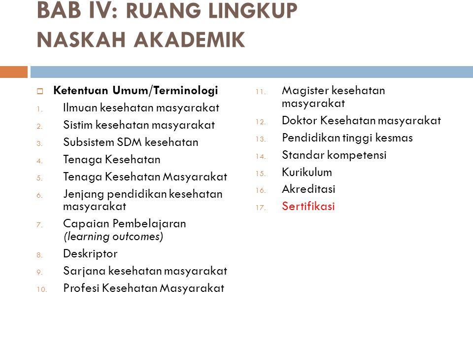 BAB IV: RUANG LINGKUP NASKAH AKADEMIK  Ketentuan Umum/Terminologi 1. Ilmuan kesehatan masyarakat 2. Sistim kesehatan masyarakat 3. Subsistem SDM kese
