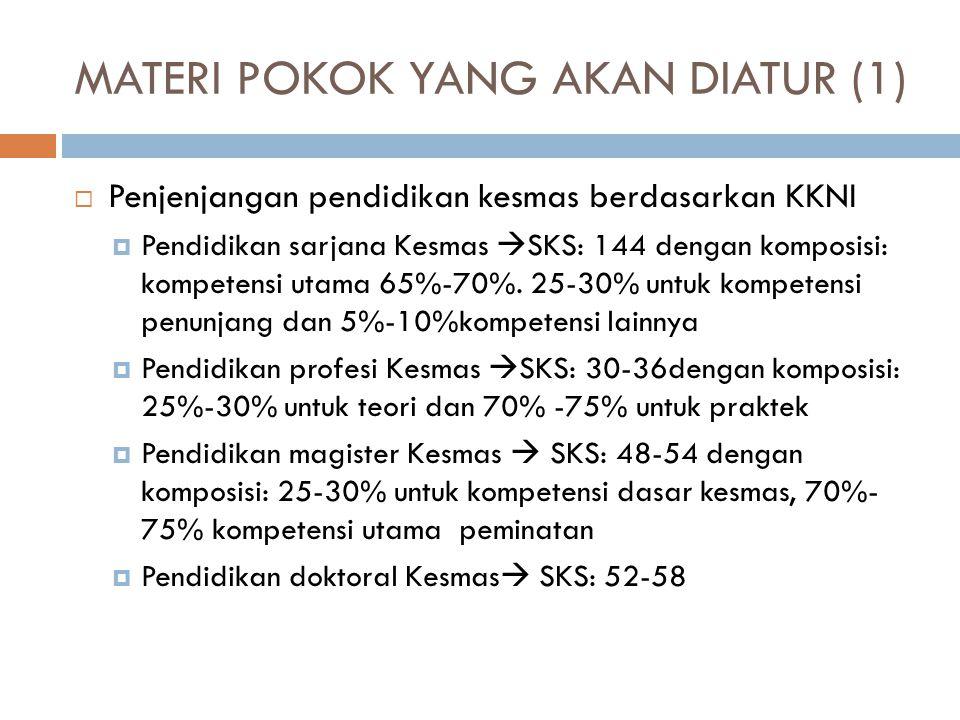 MATERI POKOK YANG AKAN DIATUR (1)  Penjenjangan pendidikan kesmas berdasarkan KKNI  Pendidikan sarjana Kesmas  SKS: 144 dengan komposisi: kompetens