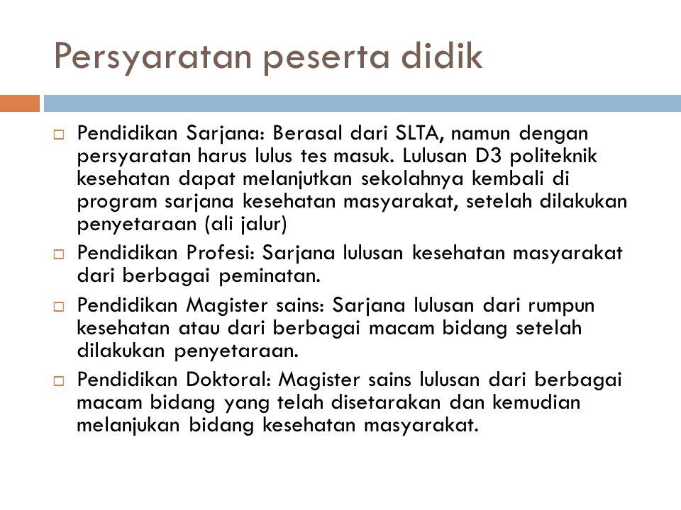 Persyaratan peserta didik  Pendidikan Sarjana: Berasal dari SLTA, namun dengan persyaratan harus lulus tes masuk.