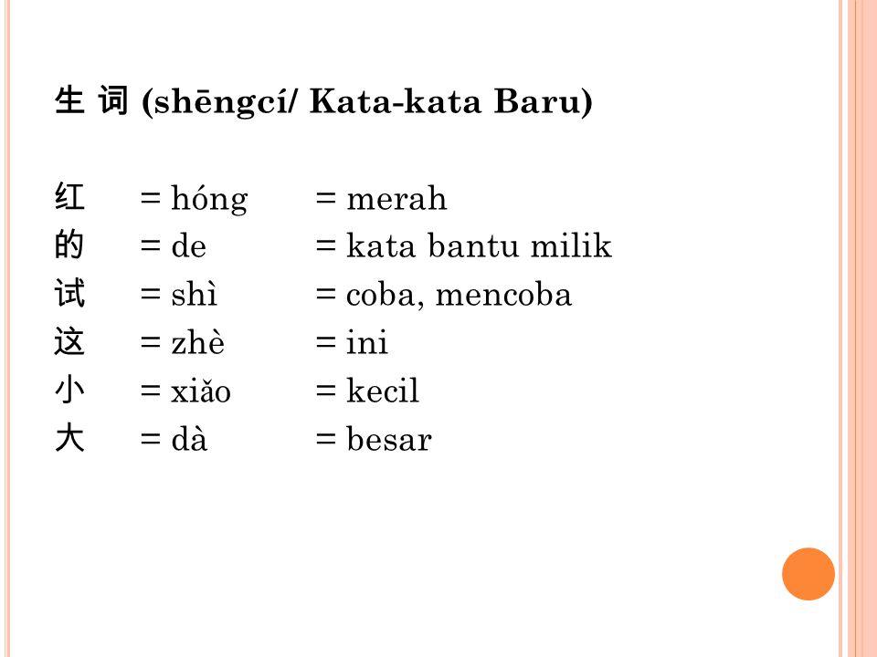 生 词 (shēngcí/ Kata-kata Baru) 红 = hóng= merah 的 = de= kata bantu milik 试 = shì= coba, mencoba 这 = zhè= ini 小 = xi ǎ o= kecil 大 = dà= besar