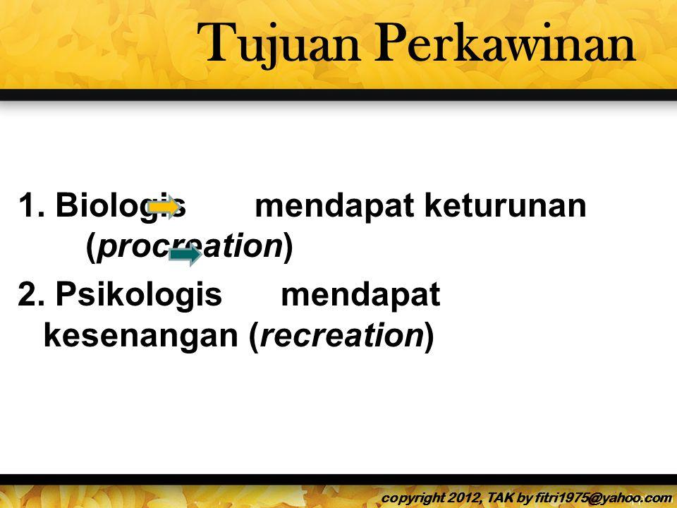 Tujuan Perkawinan 1.Biologis mendapat keturunan (procreation) 2.