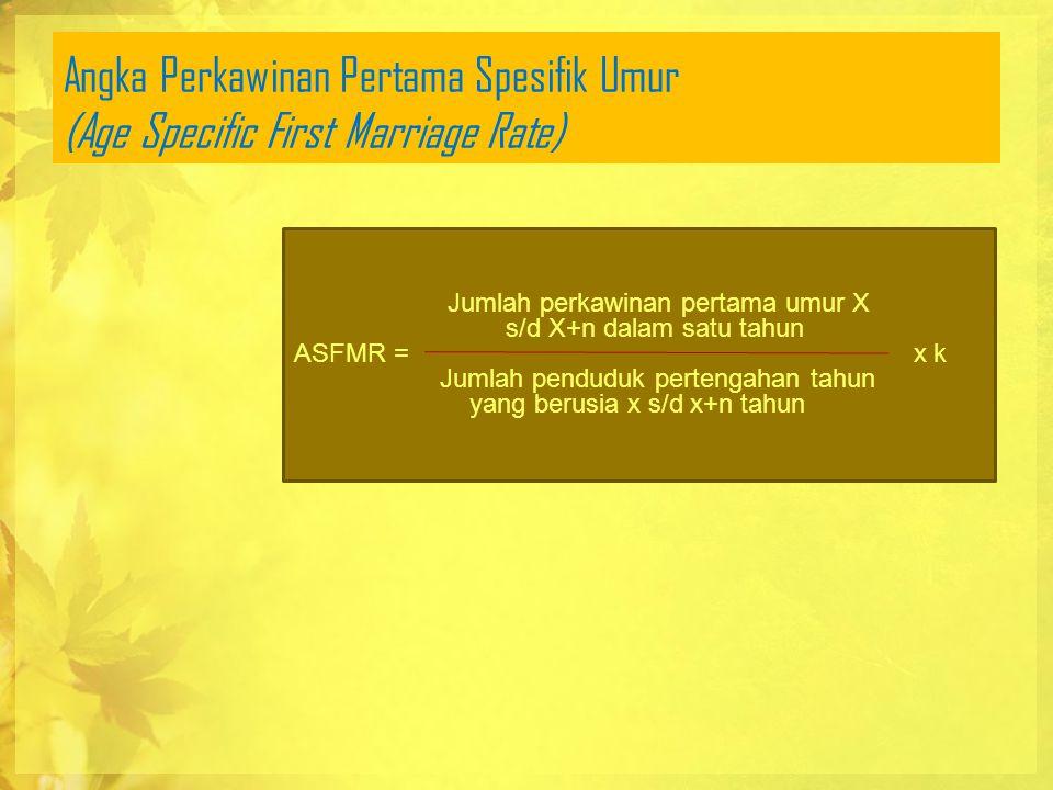 Angka Perkawinan Pertama Spesifik Umur (Age Specific First Marriage Rate) Jumlah perkawinan pertama umur X s/d X+n dalam satu tahun ASFMR = x k Jumlah