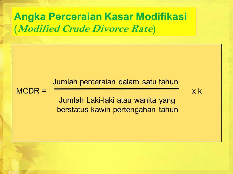 Angka Perceraian Spesifik Umur (Age Specific Divorce Rate) Jumlah perceraian umur X s/d X+n dalam satu tahun ASDR = x k Jumlah penduduk pertengahan tahun yang berusia x s/d x+n tahun