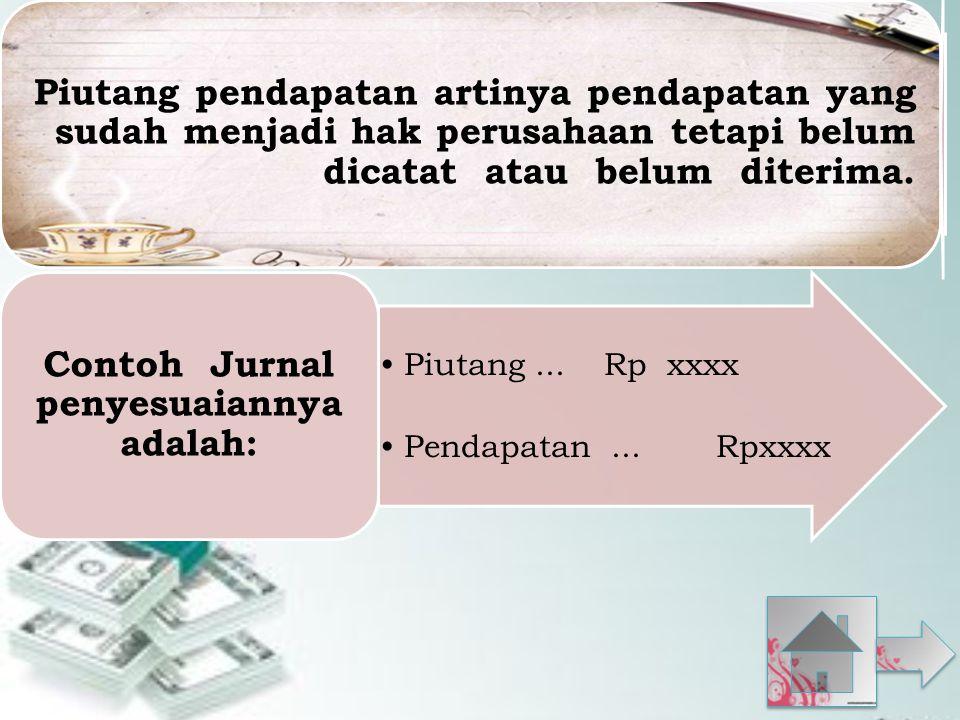 Piutang pendapatan artinya pendapatan yang sudah menjadi hak perusahaan tetapi belum dicatat atau belum diterima.