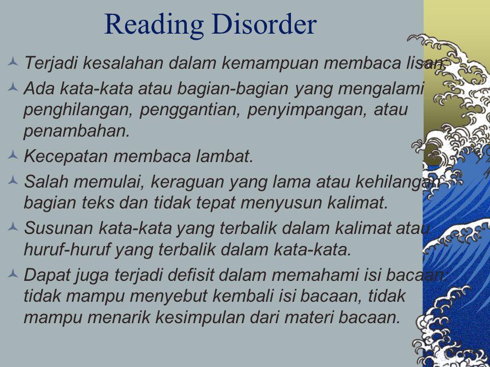 Reading Disorder Terjadi kesalahan dalam kemampuan membaca lisan: Ada kata-kata atau bagian-bagian yang mengalami penghilangan, penggantian, penyimpangan, atau penambahan.