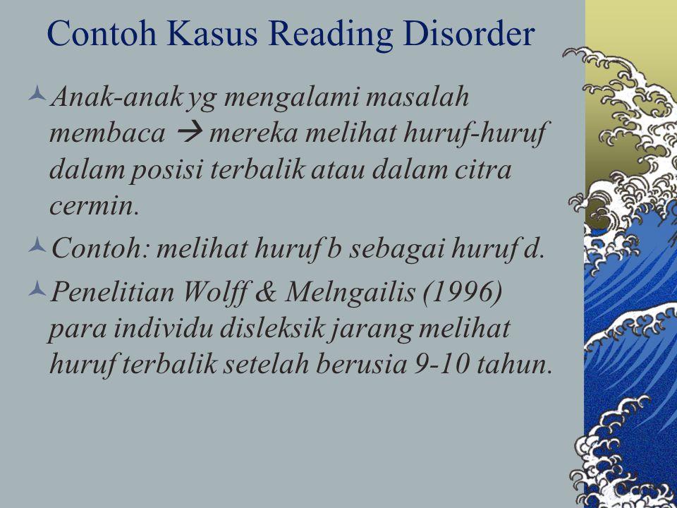 Contoh Kasus Reading Disorder Anak-anak yg mengalami masalah membaca  mereka melihat huruf-huruf dalam posisi terbalik atau dalam citra cermin. Conto