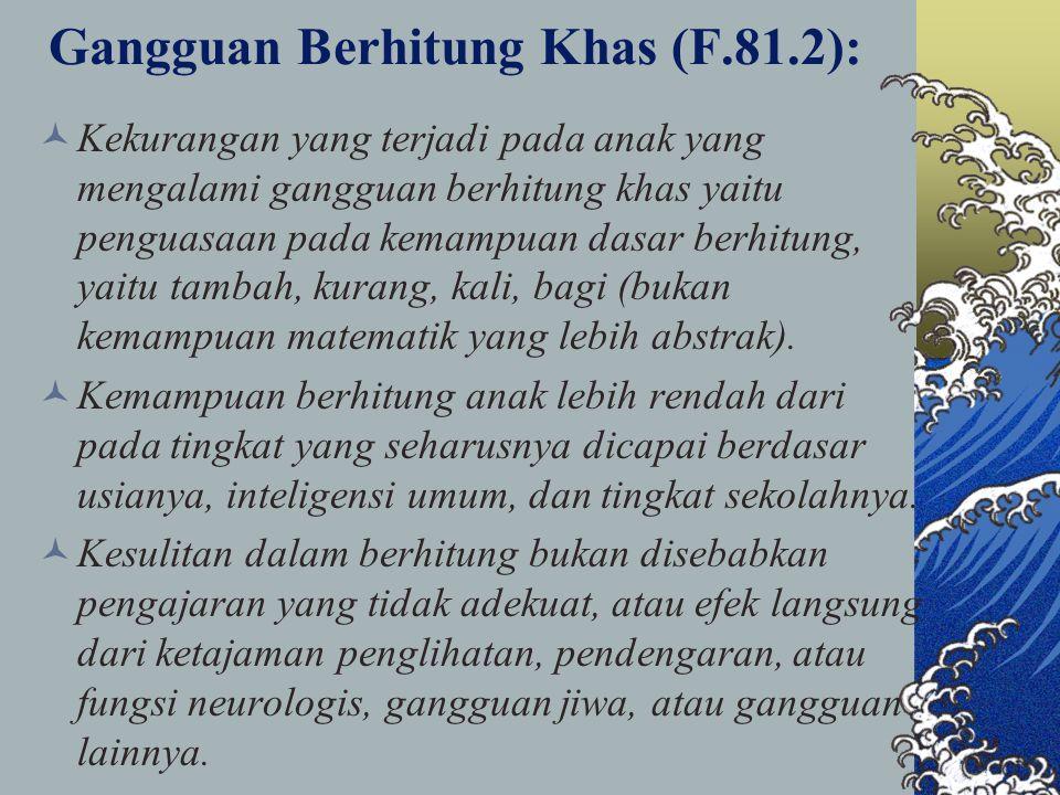Gangguan Berhitung Khas (F.81.2): Kekurangan yang terjadi pada anak yang mengalami gangguan berhitung khas yaitu penguasaan pada kemampuan dasar berhi