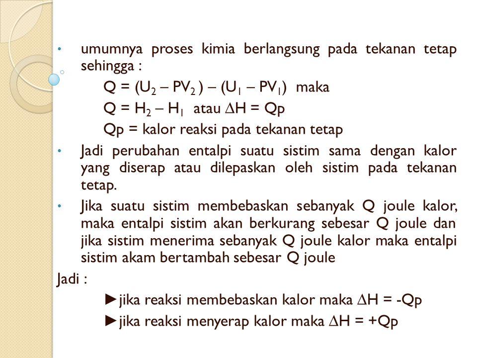 umumnya proses kimia berlangsung pada tekanan tetap sehingga : Q = (U 2 – PV 2 ) – (U 1 – PV 1 ) maka Q = H 2 – H 1 atau ∆H = Qp Qp = kalor reaksi pada tekanan tetap Jadi perubahan entalpi suatu sistim sama dengan kalor yang diserap atau dilepaskan oleh sistim pada tekanan tetap.