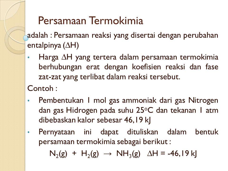Persamaan Termokimia adalah : Persamaan reaksi yang disertai dengan perubahan entalpinya (∆H) Harga ∆H yang tertera dalam persamaan termokimia berhubungan erat dengan koefisien reaksi dan fase zat-zat yang terlibat dalam reaksi tersebut.