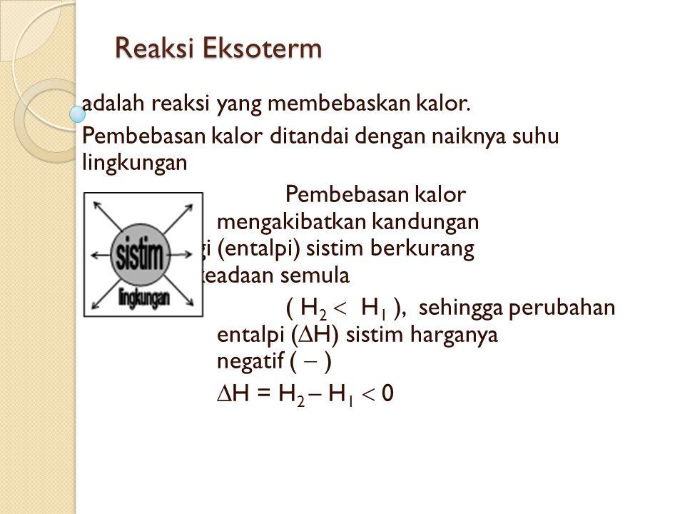 Reaksi Eksoterm adalah reaksi yang membebaskan kalor.