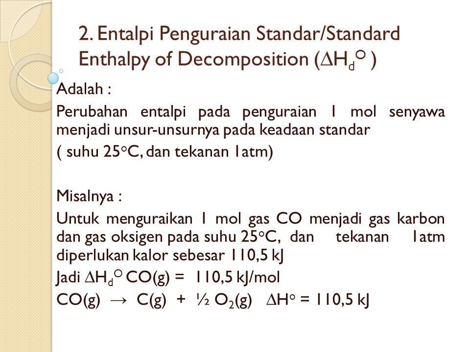 2. Entalpi Penguraian Standar/Standard Enthalpy of Decomposition (∆H d O ) Adalah : Perubahan entalpi pada penguraian 1 mol senyawa menjadi unsur-unsu