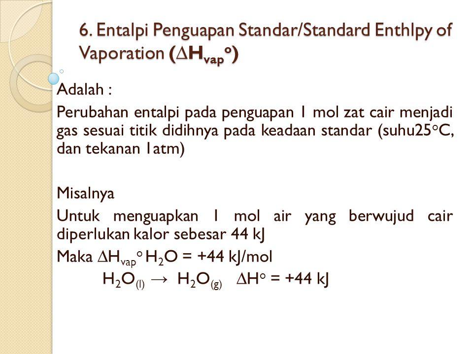 6. Entalpi Penguapan Standar/Standard Enthlpy of Vaporation (∆H vap o ) Adalah : Perubahan entalpi pada penguapan 1 mol zat cair menjadi gas sesuai ti