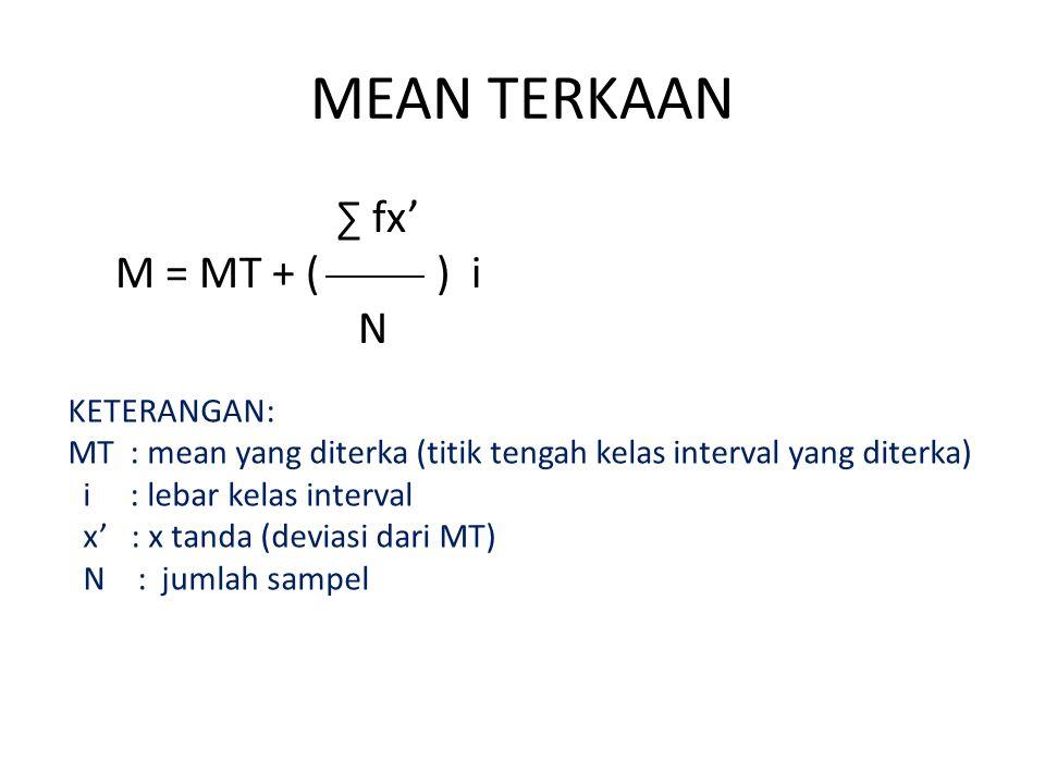 MEAN TERKAAN ∑ fx' M = MT + ( ) i N KETERANGAN: MT : mean yang diterka (titik tengah kelas interval yang diterka) i : lebar kelas interval x' : x tand