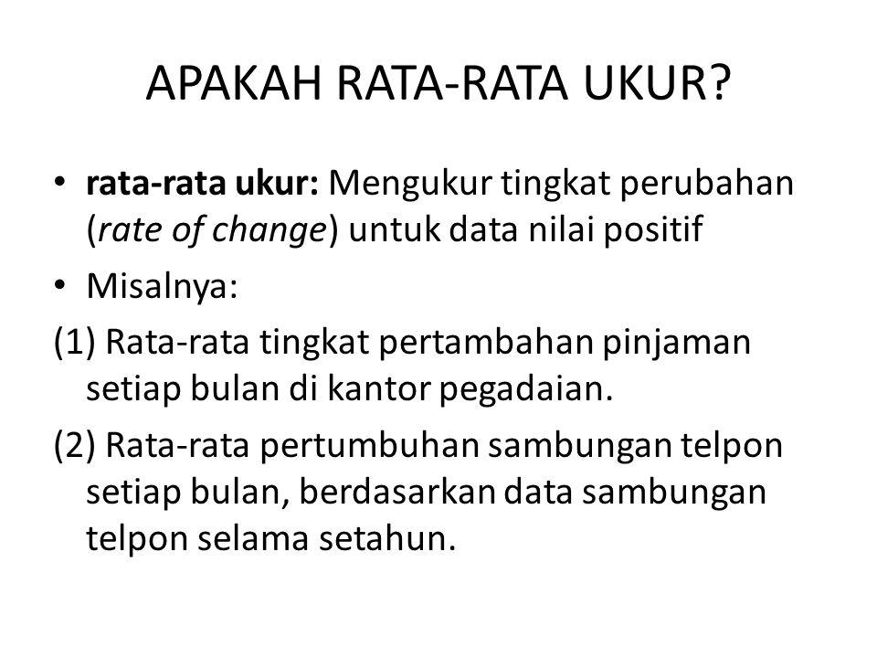APAKAH RATA-RATA UKUR? rata-rata ukur: Mengukur tingkat perubahan (rate of change) untuk data nilai positif Misalnya: (1) Rata-rata tingkat pertambaha