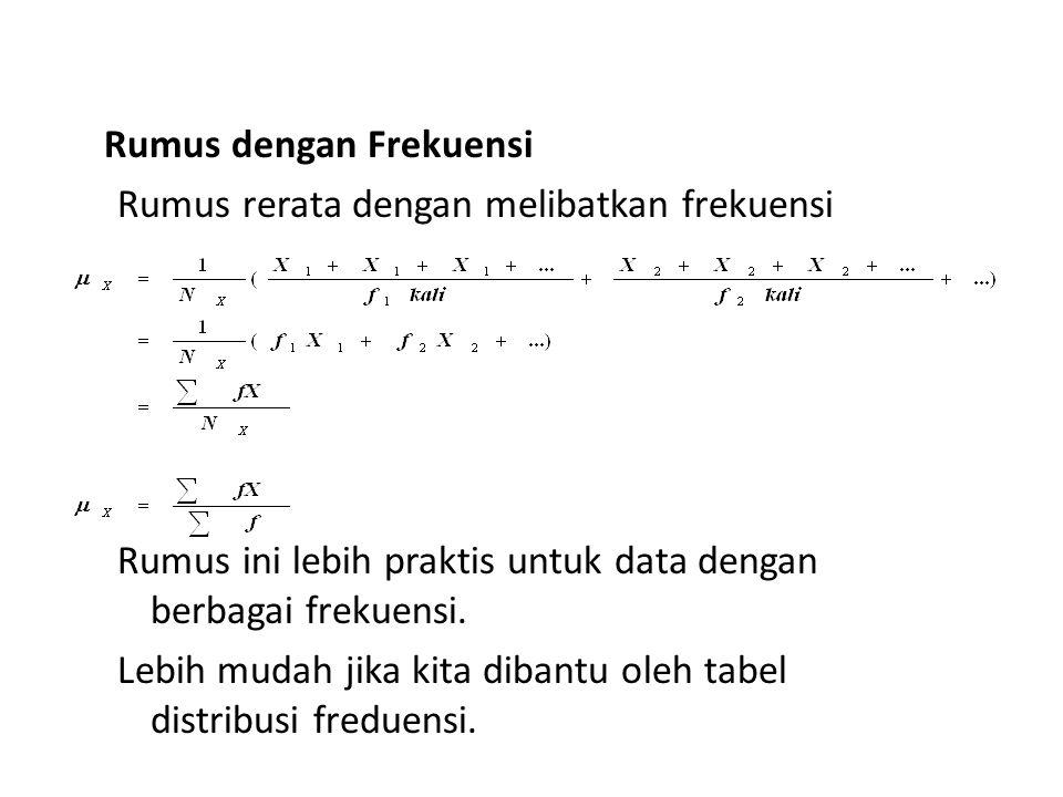 Rumus dengan Frekuensi Rumus rerata dengan melibatkan frekuensi Rumus ini lebih praktis untuk data dengan berbagai frekuensi. Lebih mudah jika kita di