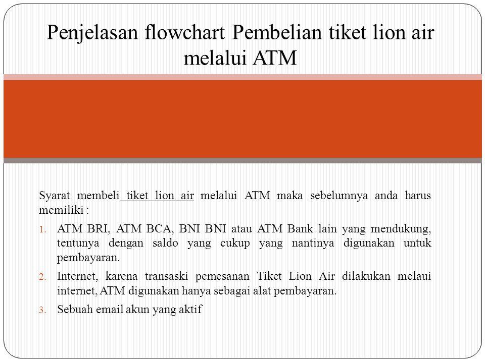 Syarat membeli tiket lion air melalui ATM maka sebelumnya anda harus memiliki : 1.