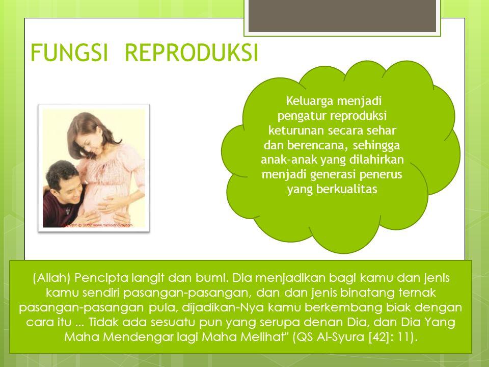 FUNGSI REPRODUKSI Keluarga menjadi pengatur reproduksi keturunan secara sehar dan berencana, sehingga anak-anak yang dilahirkan menjadi generasi pener