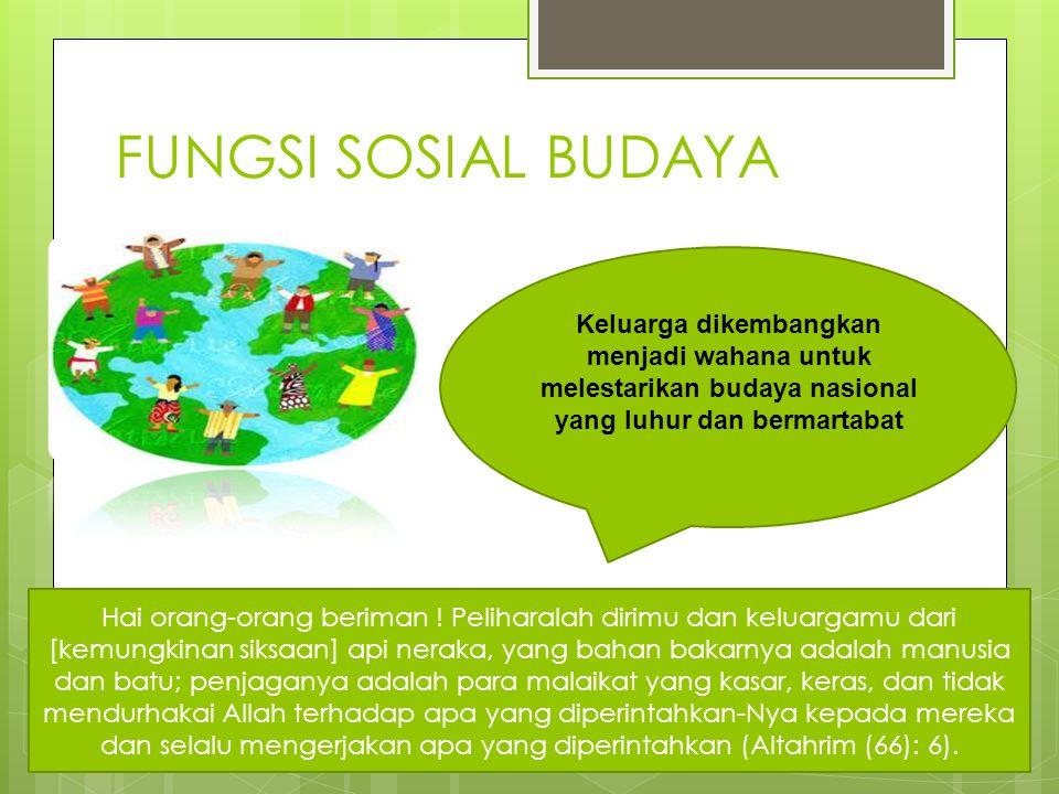 FUNGSI SOSIAL BUDAYA Keluarga dikembangkan menjadi wahana untuk melestarikan budaya nasional yang luhur dan bermartabat Hai orang-orang beriman ! Peli