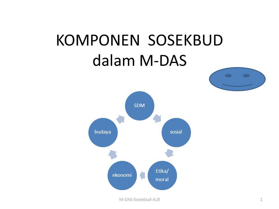 IDENTIFIKASI MASALAH SOSEKBUD Identifikasi potensi masalah sosekbud denganm pendekatan ekoaiatem pada wilayah DAS membut8hkan kecermatan, karena masalah kait mengkait dengan sebabakibat berasal dari multidimensi.