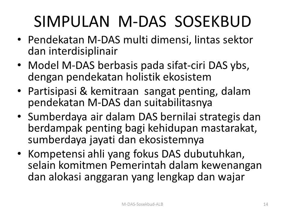 SIMPULAN M-DAS SOSEKBUD Pendekatan M-DAS multi dimensi, lintas sektor dan interdisiplinair Model M-DAS berbasis pada sifat-ciri DAS ybs, dengan pendek