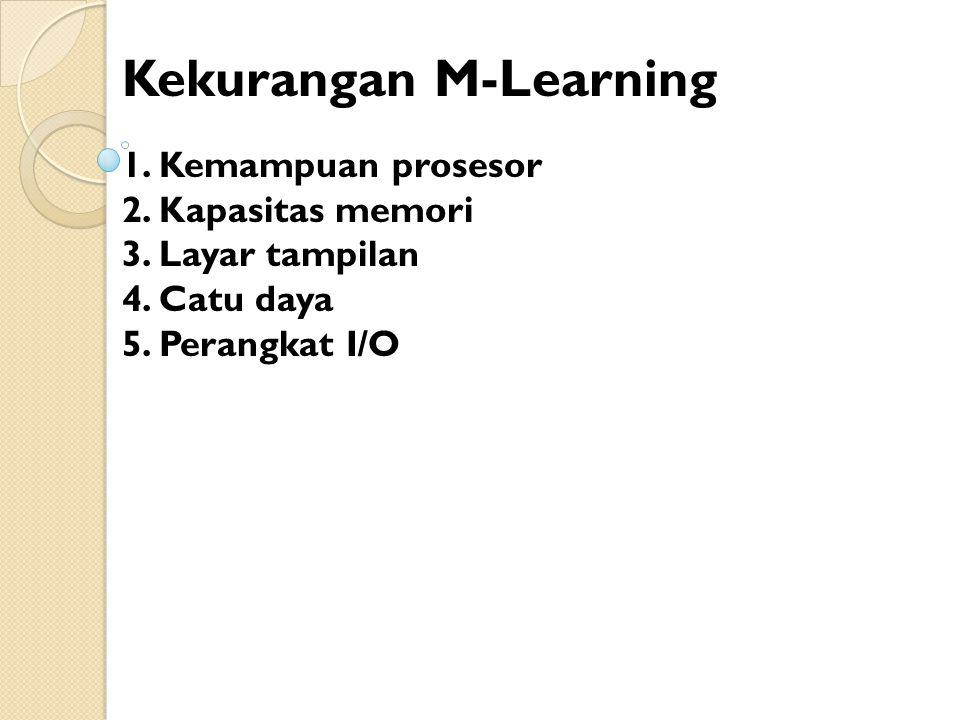 Kekurangan M-Learning 1.Kemampuan prosesor 2. Kapasitas memori 3.