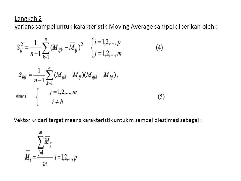 Langkah 2 varians sampel untuk karakteristik Moving Average sampel diberikan oleh : Vektor M dari target means karakteristik untuk m sampel diestimasi