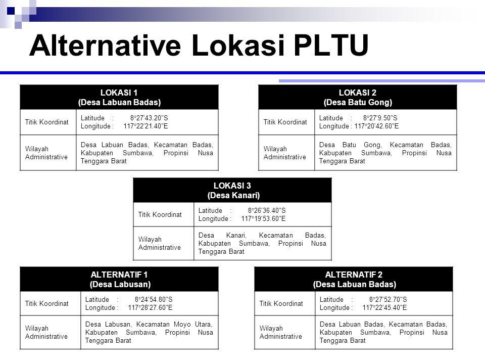 Alternative Lokasi PLTU LOKASI 3 (Desa Kanari) Titik Koordinat Latitude : 8°26'36.40