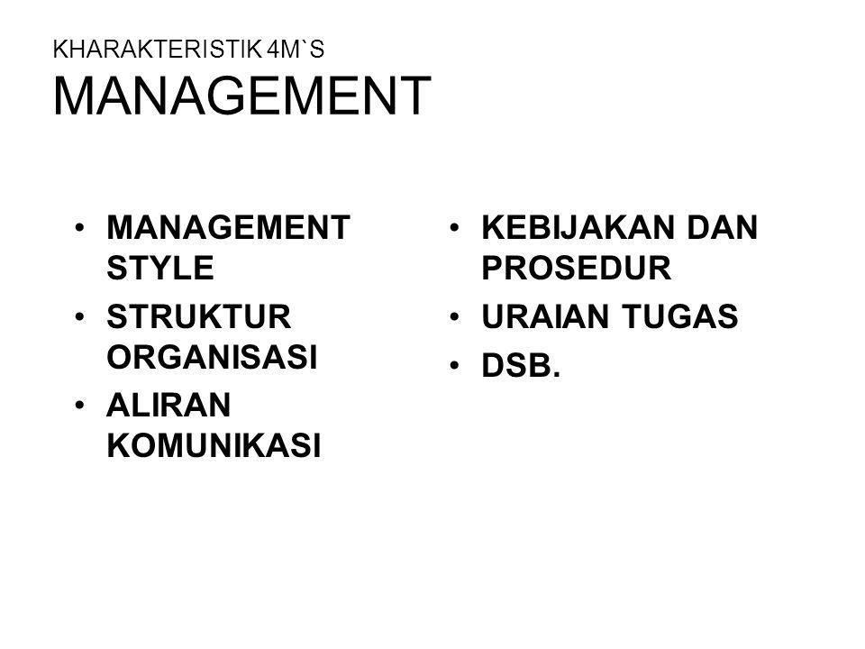 KHARAKTERISTIK 4M`S MANAGEMENT MANAGEMENT STYLE STRUKTUR ORGANISASI ALIRAN KOMUNIKASI KEBIJAKAN DAN PROSEDUR URAIAN TUGAS DSB.