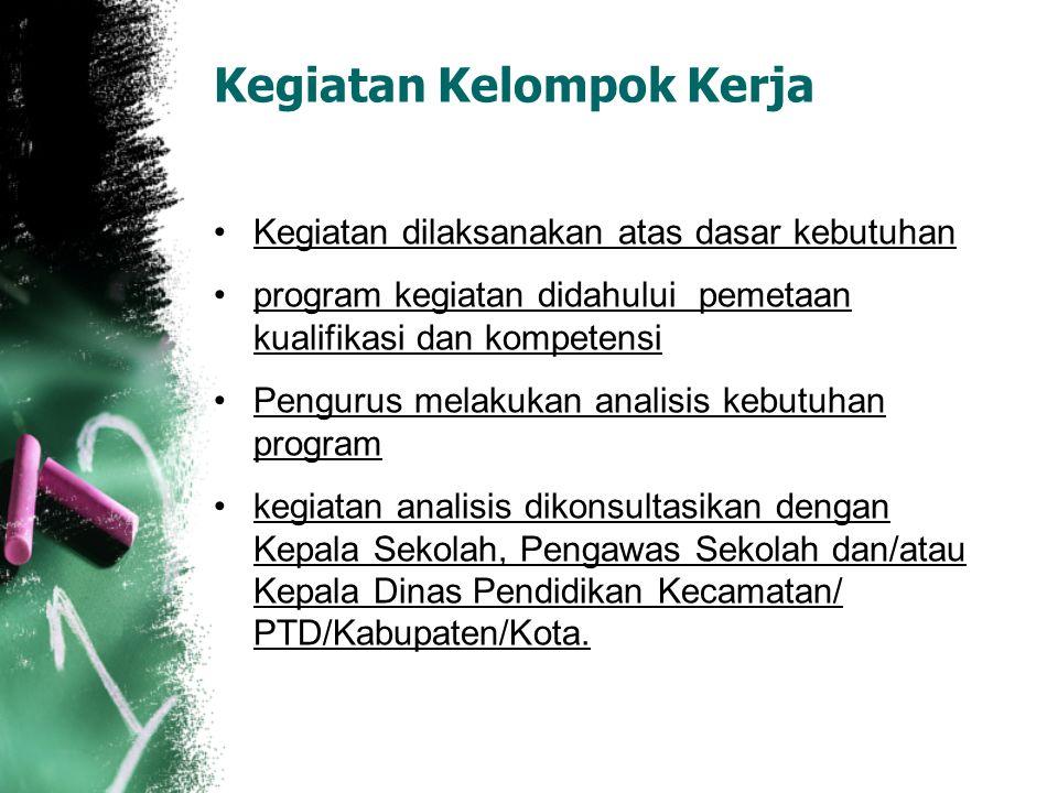 Kegiatan Kelompok Kerja Kegiatan dilaksanakan atas dasar kebutuhan program kegiatan didahului pemetaan kualifikasi dan kompetensi Pengurus melakukan a