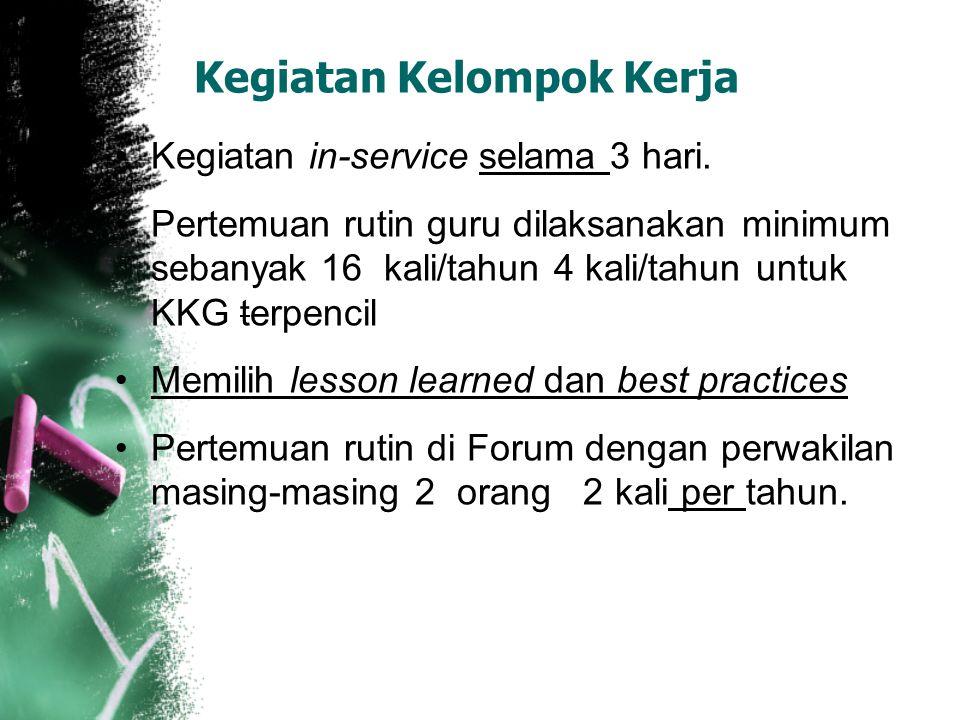 Kegiatan Kelompok Kerja Kegiatan in-service selama 3 hari. Pertemuan rutin guru dilaksanakan minimum sebanyak 16 kali/tahun 4 kali/tahun untuk KKG ter