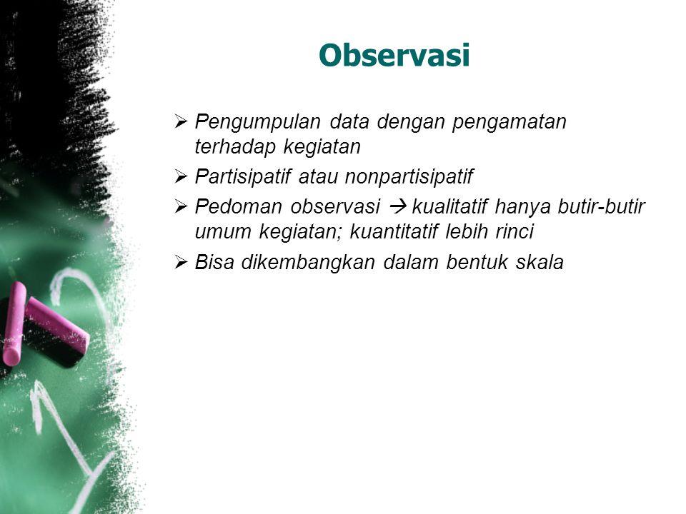 Observasi  Pengumpulan data dengan pengamatan terhadap kegiatan  Partisipatif atau nonpartisipatif  Pedoman observasi  kualitatif hanya butir-buti