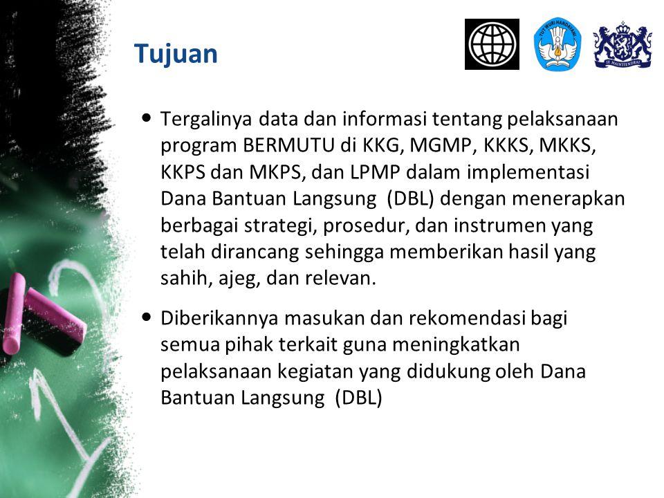 Tujuan Tergalinya data dan informasi tentang pelaksanaan program BERMUTU di KKG, MGMP, KKKS, MKKS, KKPS dan MKPS, dan LPMP dalam implementasi Dana Ban