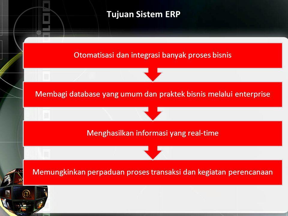 Tujuan Sistem ERP Memungkinkan perpaduan proses transaksi dan kegiatan perencanaan Menghasilkan informasi yang real-time Membagi database yang umum da