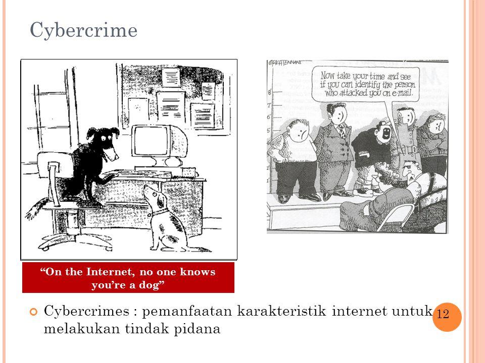 Cybercrime Cybercrimes : pemanfaatan karakteristik internet untuk melakukan tindak pidana 12 On the Internet, no one knows you're a dog
