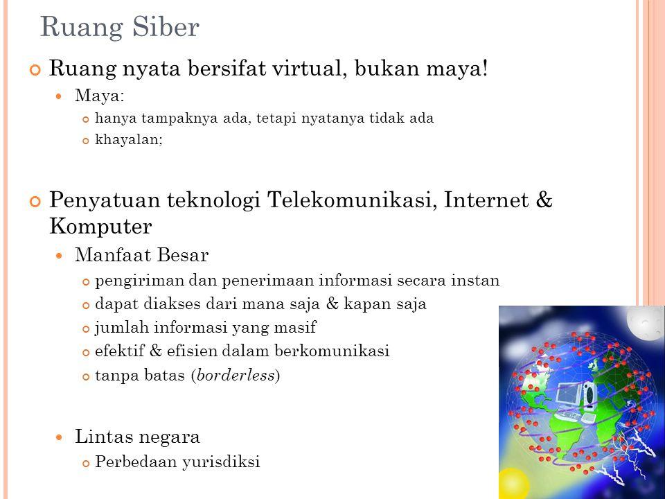 Ruang Siber Ruang nyata bersifat virtual, bukan maya.