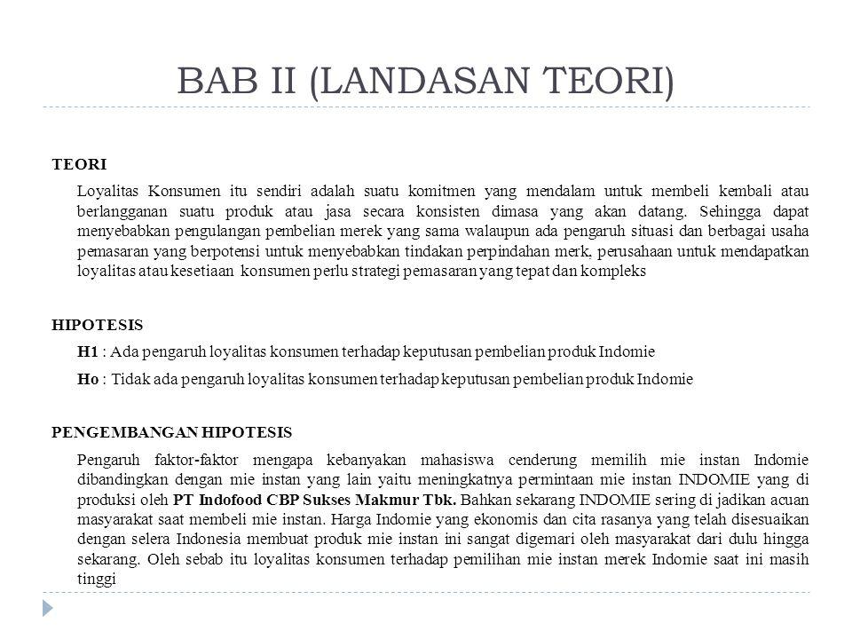 BAB II (LANDASAN TEORI) TEORI Loyalitas Konsumen itu sendiri adalah suatu komitmen yang mendalam untuk membeli kembali atau berlangganan suatu produk atau jasa secara konsisten dimasa yang akan datang.