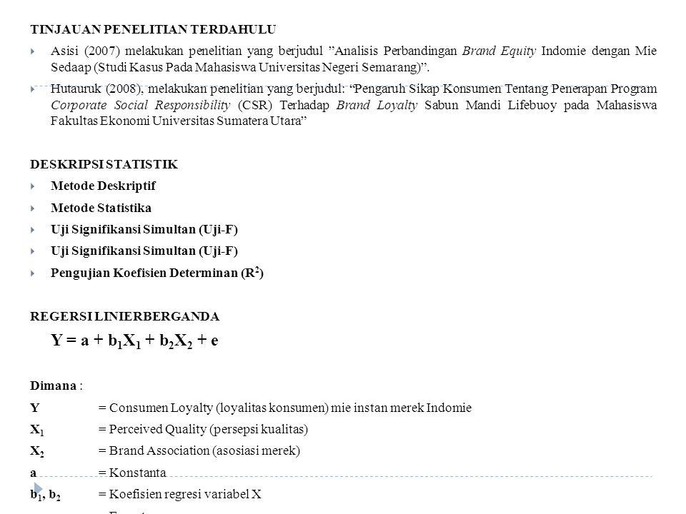 TINJAUAN PENELITIAN TERDAHULU  Asisi (2007) melakukan penelitian yang berjudul Analisis Perbandingan Brand Equity Indomie dengan Mie Sedaap (Studi Kasus Pada Mahasiswa Universitas Negeri Semarang) .