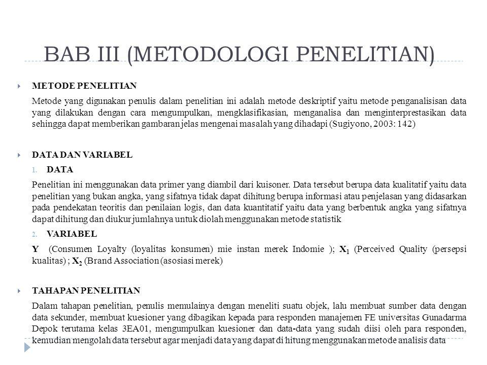 BAB III (METODOLOGI PENELITIAN)  METODE PENELITIAN Metode yang digunakan penulis dalam penelitian ini adalah metode deskriptif yaitu metode penganalisisan data yang dilakukan dengan cara mengumpulkan, mengklasifikasian, menganalisa dan menginterprestasikan data sehingga dapat memberikan gambaran jelas mengenai masalah yang dihadapi (Sugiyono, 2003: 142)  DATA DAN VARIABEL 1.