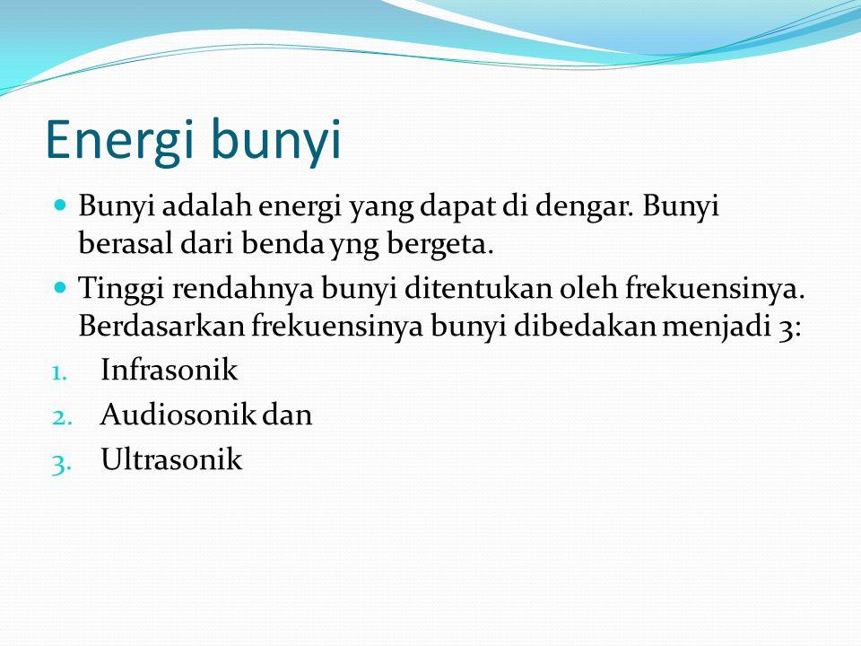 Energi bunyi Kuat rendahnya bunyi ditentukan oleh amplitudo.