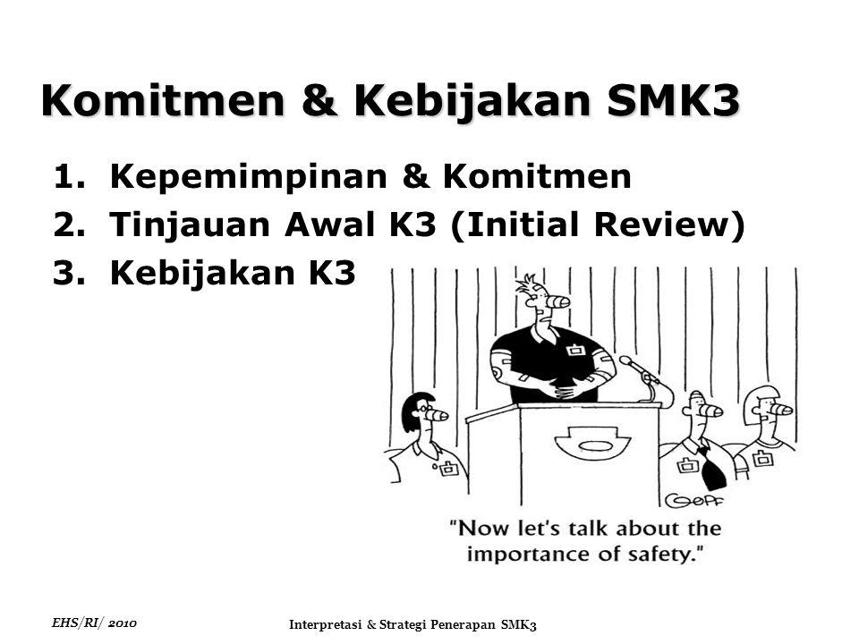 EHS/RI/ 2010 Interpretasi & Strategi Penerapan SMK3 Komitmen & Kebijakan SMK3 1.Kepemimpinan & Komitmen 2.Tinjauan Awal K3 (Initial Review) 3.Kebijakan K3