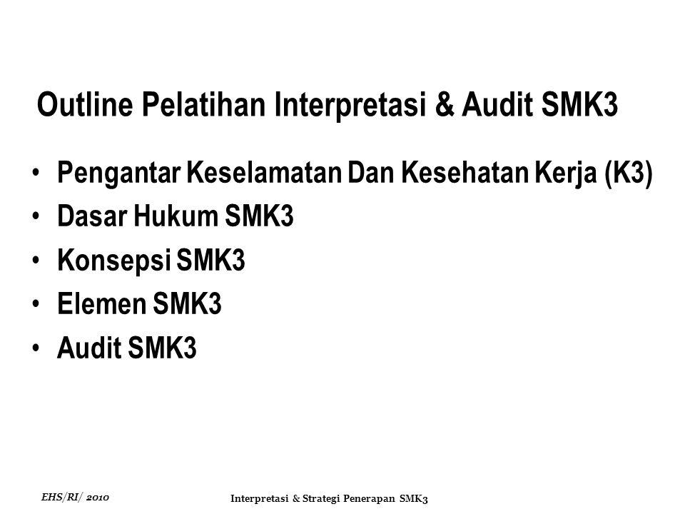 EHS/RI/ 2010 Interpretasi & Strategi Penerapan SMK3 Prosedur identifikasi standard kompetensi, penerapan pelatihan, penilaian kompetensi dan dokumentasi pelatihan Standar kompetensi kerja keselamatan dan kesehatan kerja dapat dikembangkan dengan: Pelatihan dan Kompetensi Kerja Menggunakan standar kompetensi kerja yang ada.