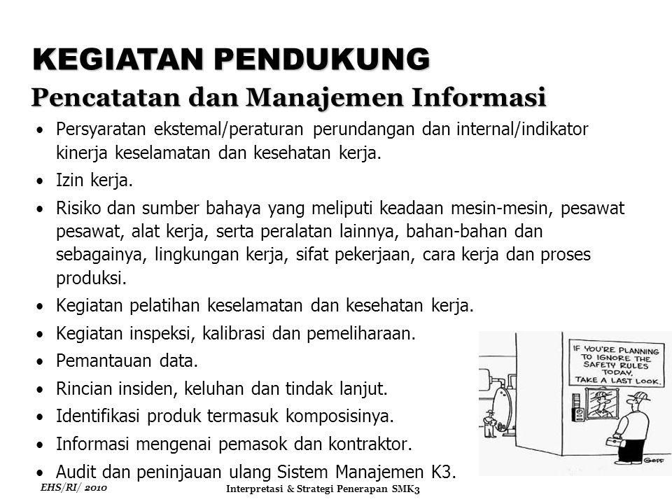 EHS/RI/ 2010 Interpretasi & Strategi Penerapan SMK3 Persyaratan ekstemal/peraturan perundangan dan internal/indikator kinerja keselamatan dan kesehatan kerja.